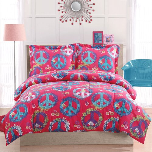 Peace Sign Pink Comforter Set