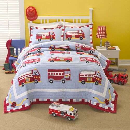 Cotton Fire Truck Quilt Set