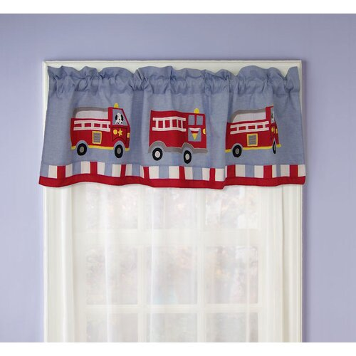 "My World Cotton Fire Truck 70"" Curtain Valance"