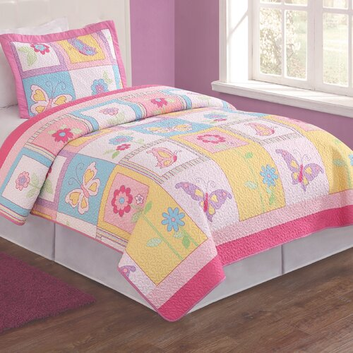 My World Flutter of Butterflies 2 Piece Twin Quilt Set