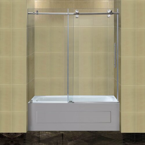 Aston Completely 60 X 60 Sliding Frameless Tub Height Shower Door