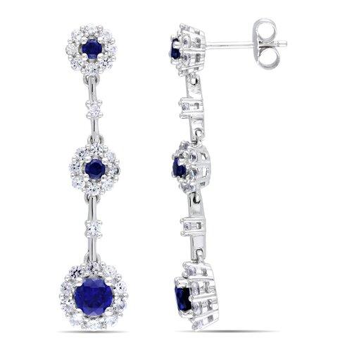 Round Cut Sapphire Dangle Drop Earrings