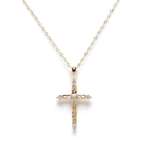 14K Yellow Gold Cross Diamond Pendant