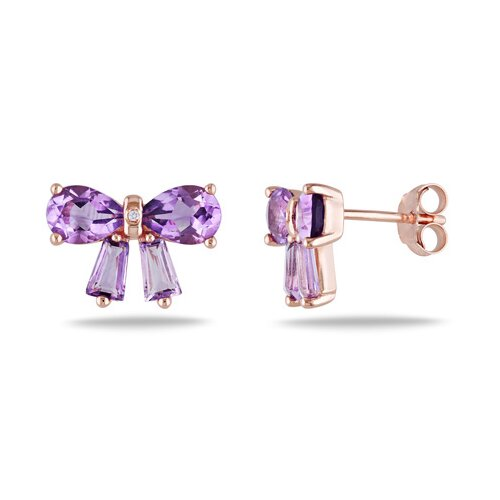 Pear and Tapered Cut Amethyst Stud Earrings
