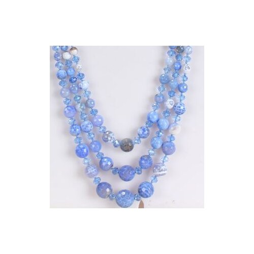 Round Mixed Light Blue-White Agate and Sky Blue Crystal Beads Necklace with Triple-Strand