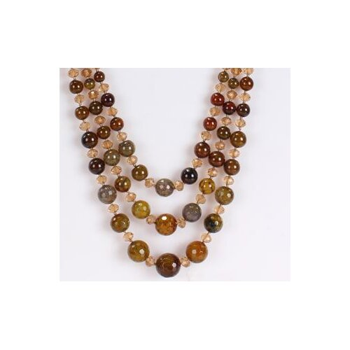 Amour Round Mixed Olive Green-Brown Agate and Light Champagne Necklace with Triple-Strand