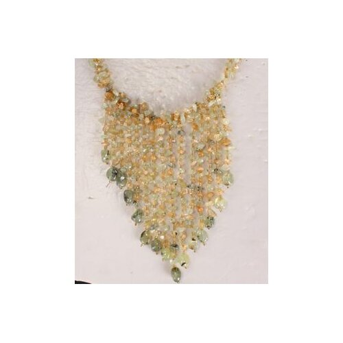 Light Green Agate Chips Necklace with Multi-Strand