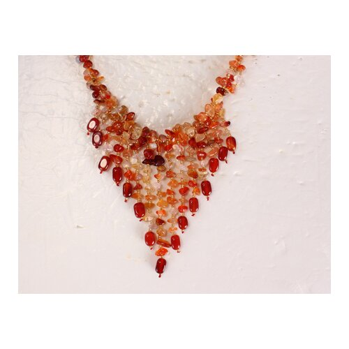 Amour Mixed Agate and Carnelian Chips Necklace in Red / Orange / Yellow