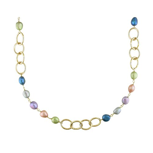 Amour Irregular Cultured Pearl Necklace with Yellow Plated Polished Brass Round Links