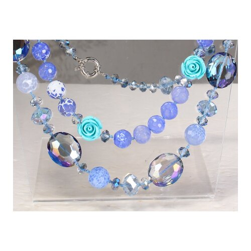 Round Mixed Light Blue-White Agate and Crystal Beads Necklace with Double-Strand