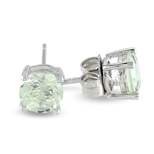 Round Green Amethyst Solitaire Earrings