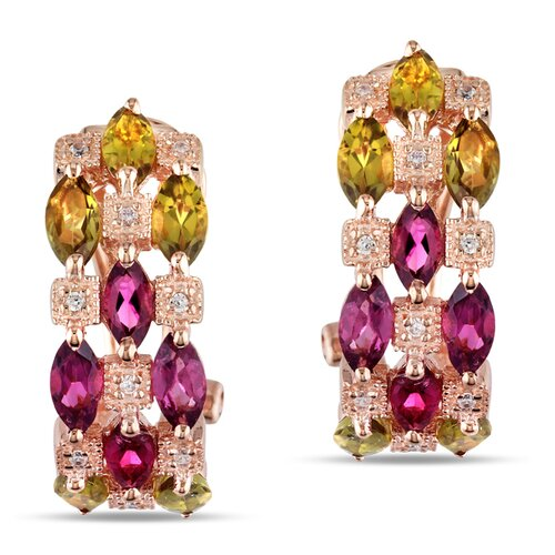 Pink and Green Tourmaline and Cubic Zirconium Clip back Earrings