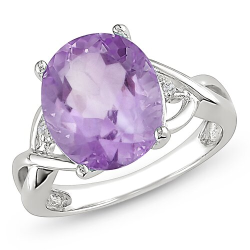 Amour Sterling Silver Diamonds and Amethyst Fashion Ring