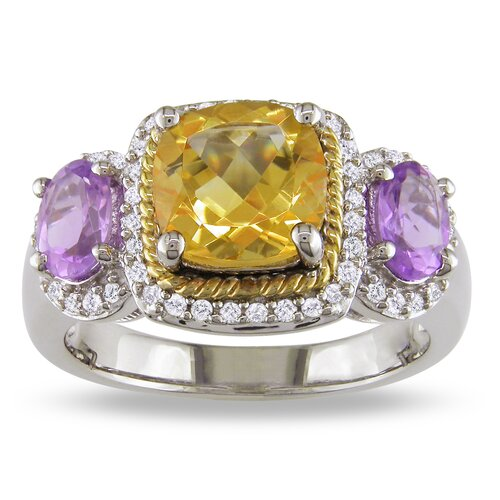 Amour Sterling Silver and Yellow Gold Diamond and Citrine Amethyst Fashion Ring