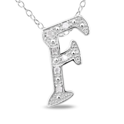 Amour Sterling Silver White Diamonds Initial Pendant