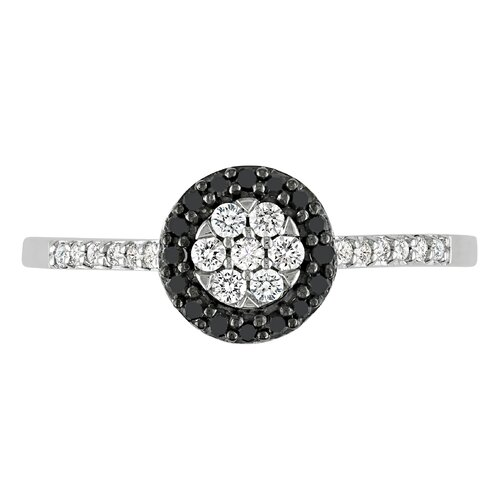 Amour White Gold Black Rhodium Plated Ring Diamonds Fashion