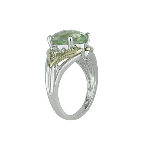 Amour Sterling Silver and Yellow Gold Diamonds and Green Amethyst Fashion Ring