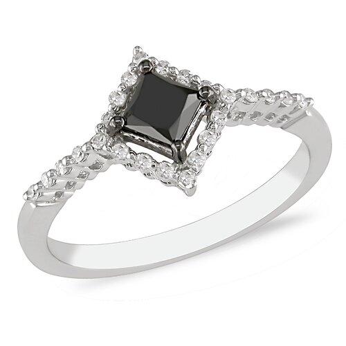 White Gold Black and White Diamonds Fashion Ring