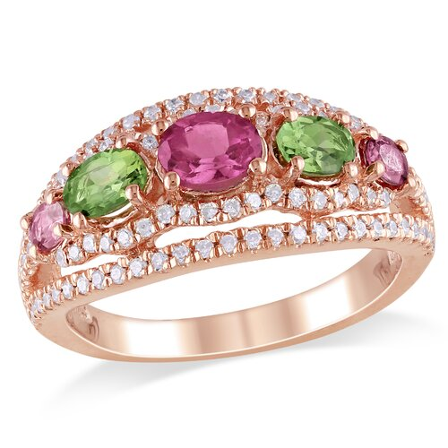 Amour Silver Pink Rhodium Plated Tourmaline and Cubic Zirconium Fashion Ring