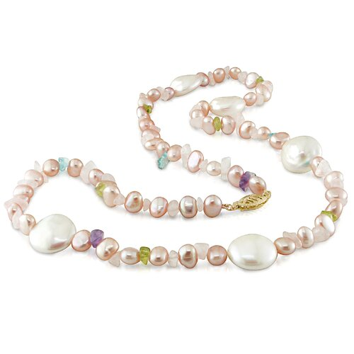 Yellow Gold Coin Shaped and Irregular Shaped Freshwater Cultured Pearls Necklace