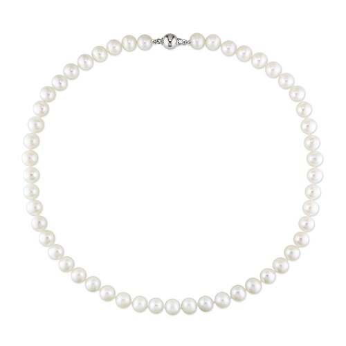 Sterling Silver Round Shaped Freshwater Cultured Pearls Necklace