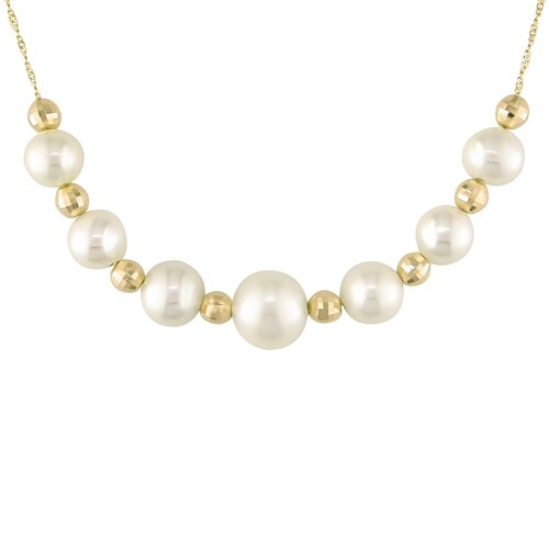 Pink Gold Off Round Freshwater Cultured Pearls Necklace