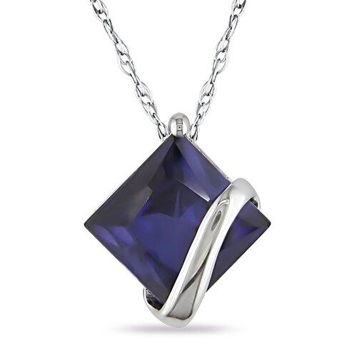 Amour Square Cut Created Sapphire Pendant
