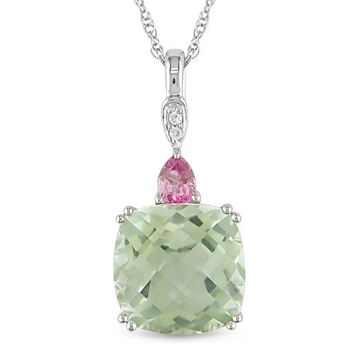 Rope Chain Round Cut, Cushion Checkerboard Cut, Pear Cut Topaz, Amethyst and Diamond Pendant