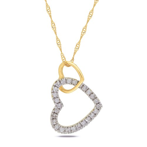 Yellow Gold Rope-chain Round-cut A Quarter Carat of Diamond Heart Pendant