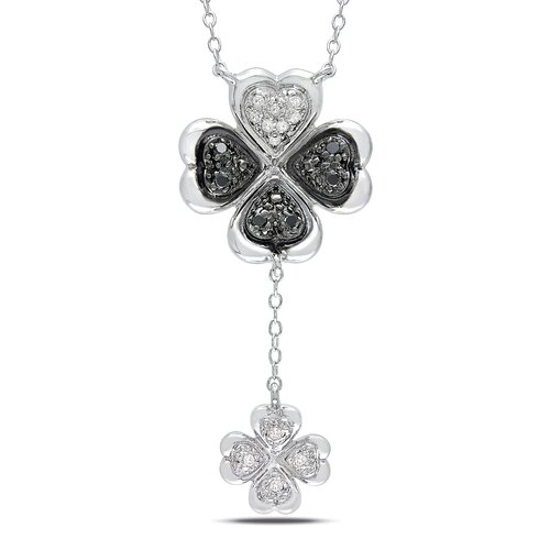 Amour Sterling Silver Double Rolo-chain Round-cut Diamond Necklace