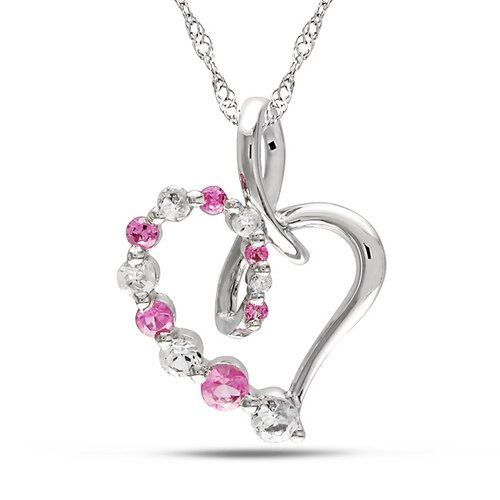 Singapore-chain Round-cut Created Sapphire and Round-cut White Diamond Heart Pendant