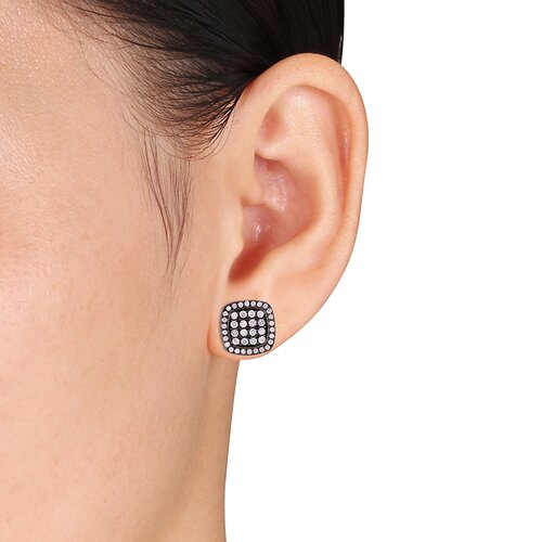 Amour Round Cut Diamonds and Rhodium Stud Earrings