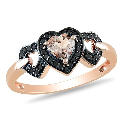 Pink Gold Heart Shaped Morganite Multi Stone Ring