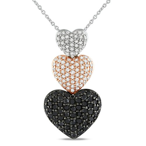 Silver Round Cut Diamond Heart Pendant