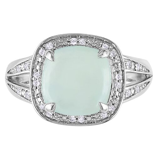 Amour Sterling Silver Cushion Milky Gemstone Cut Halo Ring