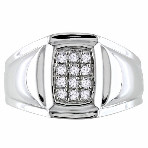 Amour Sterling Silver Round Cut Diamond Multi Stone Ring