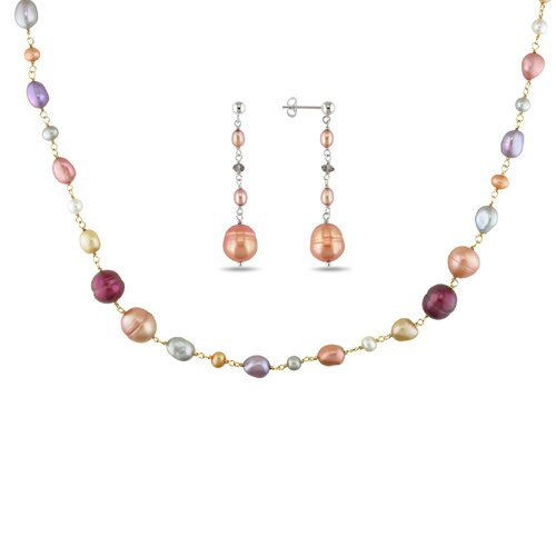 Silver Pink Plated Cut Cultured Pearl Pear Necklace and Smokey Quartz Stud Earrings Set