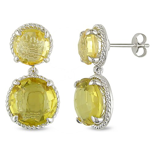 Sterling Silver Round Cut Citrine Gemstones Earrings