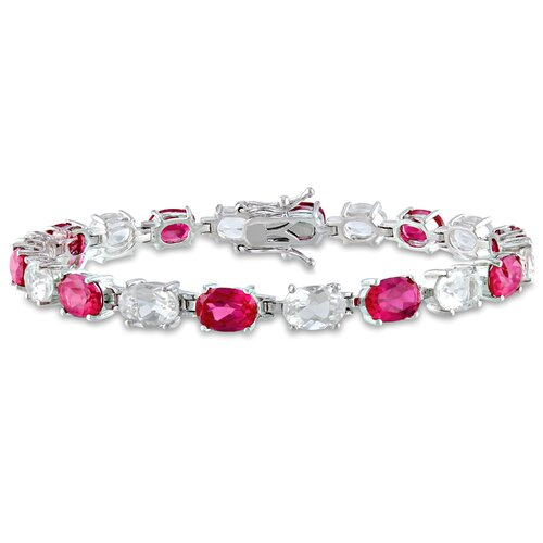 Sterling Silver Oval Ruby and Topaz Link Bracelet