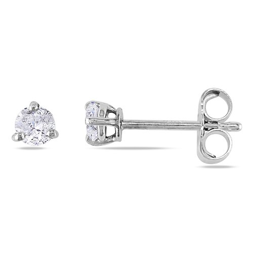 Amour Round Cut Diamond Solitaire Stud Earrings