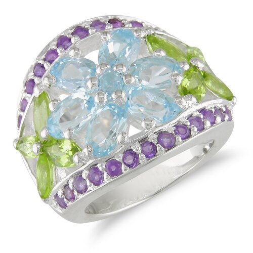 Amour Sterling Silver Flowers Gemstone Statement Ring