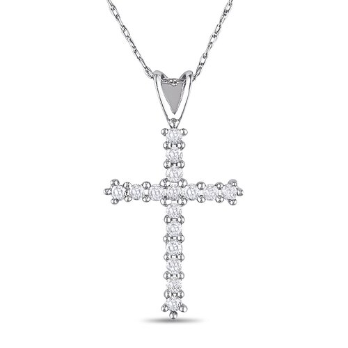 10K White Gold Cross Diamond Pendant