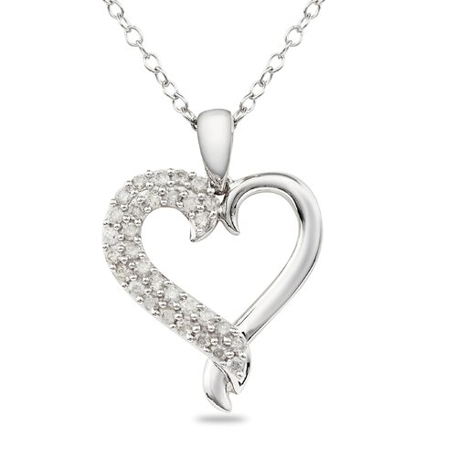 White Gold Round Cut Diamond Heart Pendant