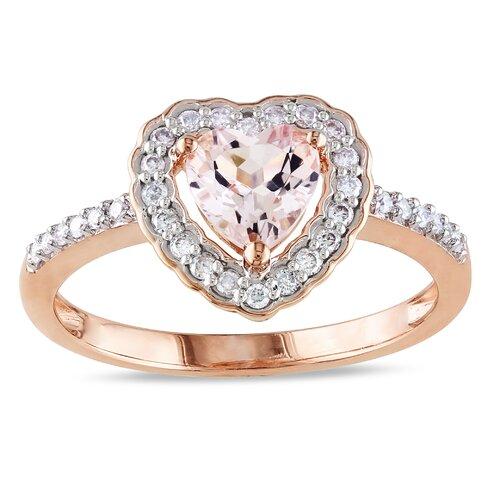 10k Pink Gold TGW Morganite Heart Cut Fashion Ring