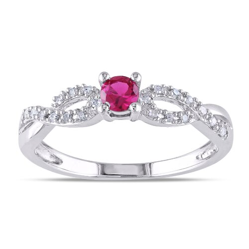 Amour Sterling Silver Round Cut Gemstone Ring