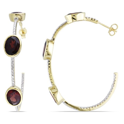Amour Oval Cut Dangle Hoop Earrings