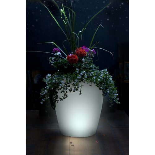 Forest City Models and Patterns Solar Operated Illuminated Round Planter