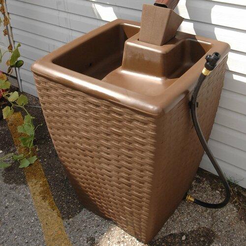 Yimby 50 Gallon Wicker Style Rain Barrel