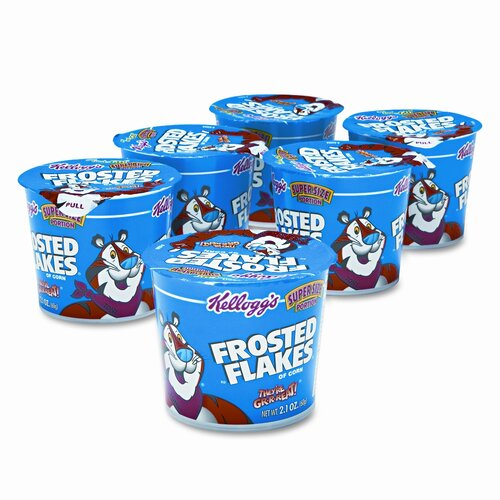 Kelloggs Breakfast Cereal, Frosted Flakes, Single-Serve 2.1oz Cup, 6 Cups/box