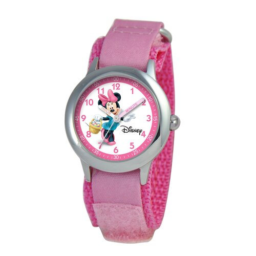 Disney Kid's Minnie Mouse Time Teacher Velcro Watch in Pink Camo